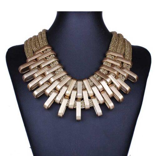 Nueva camiseta para mujer babero colgante cadena collar dorado de maxi Acrílico declaración Bohemia Boho