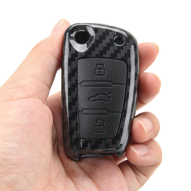 Carbon Fiber Remote Key Cover Fob For Audi A4 A3 A6 A7 A8