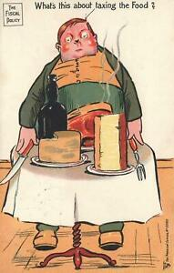 1904-VINTAGE-ENGLAND-COMIC-FISCAL-POLICY-TAXING-FOOD-FAT-GLUTTON-POSTCARD