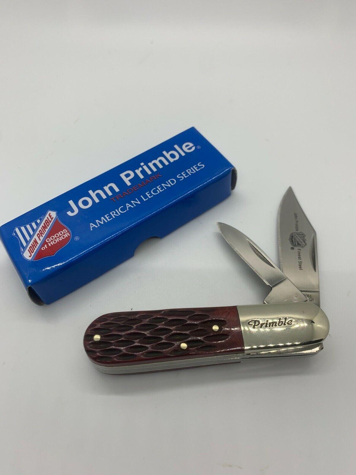 JOHN PRIMBLE 2-BLADED BARLOW KNIFE - BROWN JIGGED BONE - JP 30 0020BB - NIB