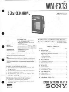 Honig Sony Original Service Manual Für Wm-fx 13 Starke Verpackung Anleitungen & Schaltbilder