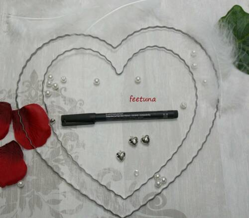 1 Draht Herz Herzen Hochzeit Rohling für Girlande und Blüten Autoschmuck Liebe
