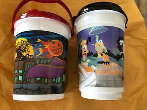 Lot-of-2-Disneyland-Halloween-Popcorn-Buckets-w-Lids-Mickey-Mouse-Goofy-Whirley