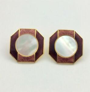 Vintage Isle of Skye Enamel & Mother of Pearl Center Gold Pl. Earrings - Posts