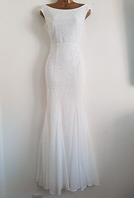 New Ex Debenhams 8-18 White Sequin Bardot Bridal Wedding Occasion Maxi Dress