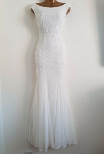 D Maxi Wedding 18 Bridal Dress Sequin ms Occasion White 8 Bardot benh Ex New fxqZ57w