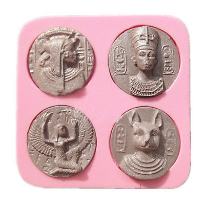New Sugarcraft Egyptian Coin Cake Mold People Women Figure Shape Silicone  Mould | eBay