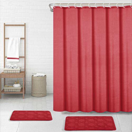 Waterline Printed Modern Bathroom Shower Curtain 180cm x 180cm 12 Rings Hooks