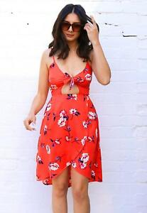 Floral Print Cut Out Tie Front Sun Dress with Wrap Skirt in Red & Pink