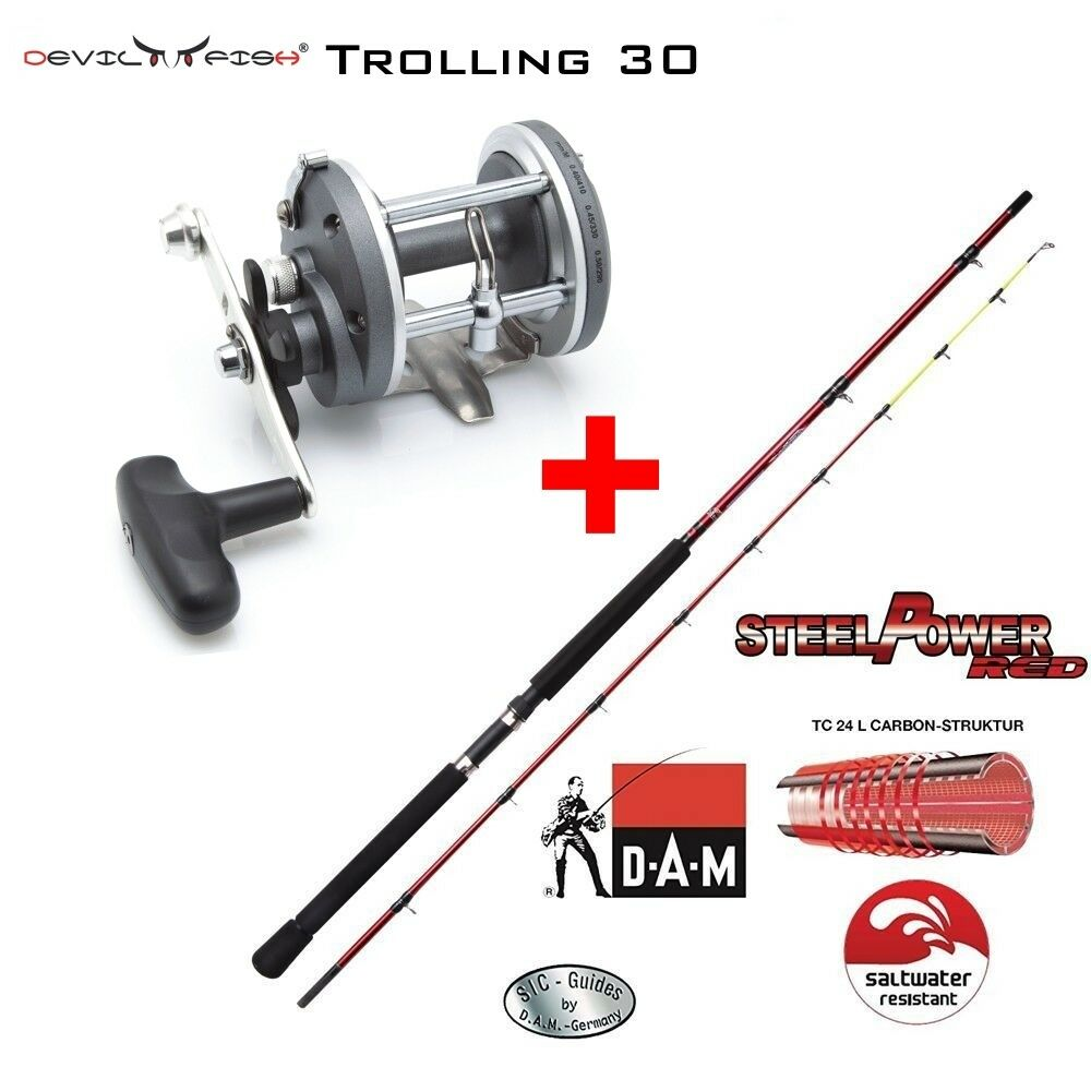 Downrigger Set Dam steelpower ® rosso  multi ruolo Devilfish TROLLING 30 2bb
