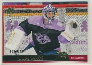 2020-21-Upper-Deck-Series-1-UD-Exclusives-107-Juuse-Saros-100-Predators