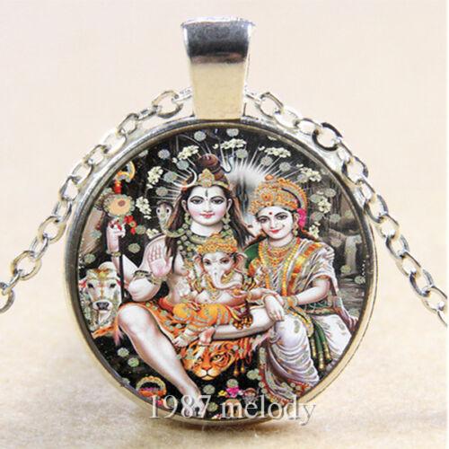 Photo Cabochon Glass Silver popular Pendants chain Necklace (SHIVA FAMILY)