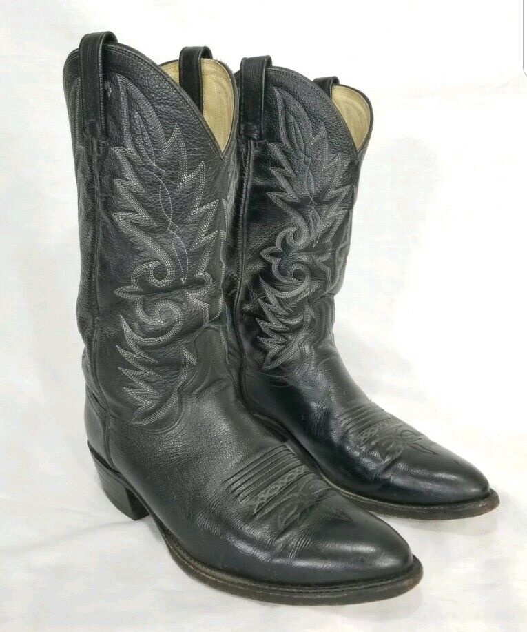 Dan para hombre de cuero negro Milwaukee occidental Post botas DP9299 D