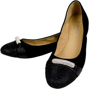 Glitter Stretch Zapato Rhinestone Ballerina de mujer Plata Negro de Sehan Shirin piel EZq80