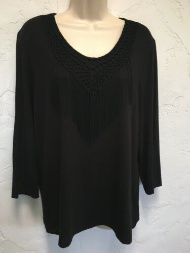 Chico's Size 2 L Black Jersey Knit Fabulous Fringe Top NWT 3/4 Sleeves