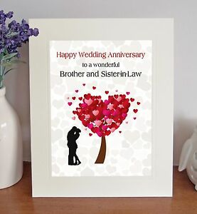 Brother Sister In Law Wedding Anniversary Gift Free Standing