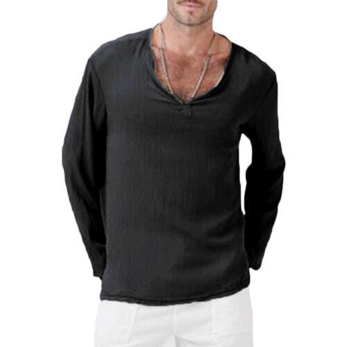 Mens Casual Plain V-Neck Long Sleeve T-Shirt Shirts Beach Yoga Tees Tops Blouse