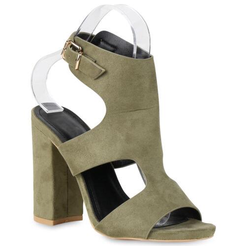 Damen Sandaletten High Heels Schaftsandaletten Cut Outs Schuhe 820916 Trendy