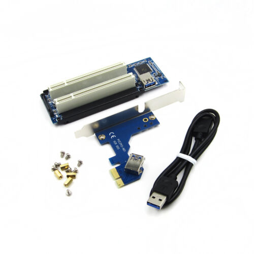 PCI-E Express X1 to Dual PCI Riser Extend Adapter Card With USB 3.0 Cable NEW