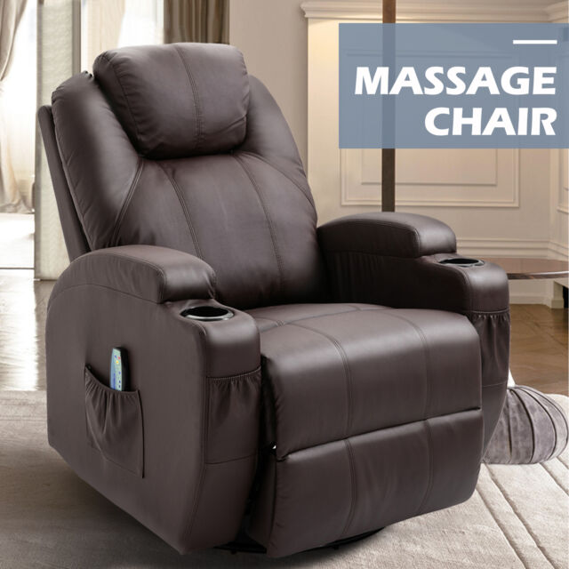 Ergonomic Leather Massage Chair Recliner Vibrating Heated Sofa Lounge Brown wRC