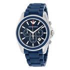 Emporio Armani Sportivo Chronograph Blue Dial Blue Rubber Mens Watch AR6068