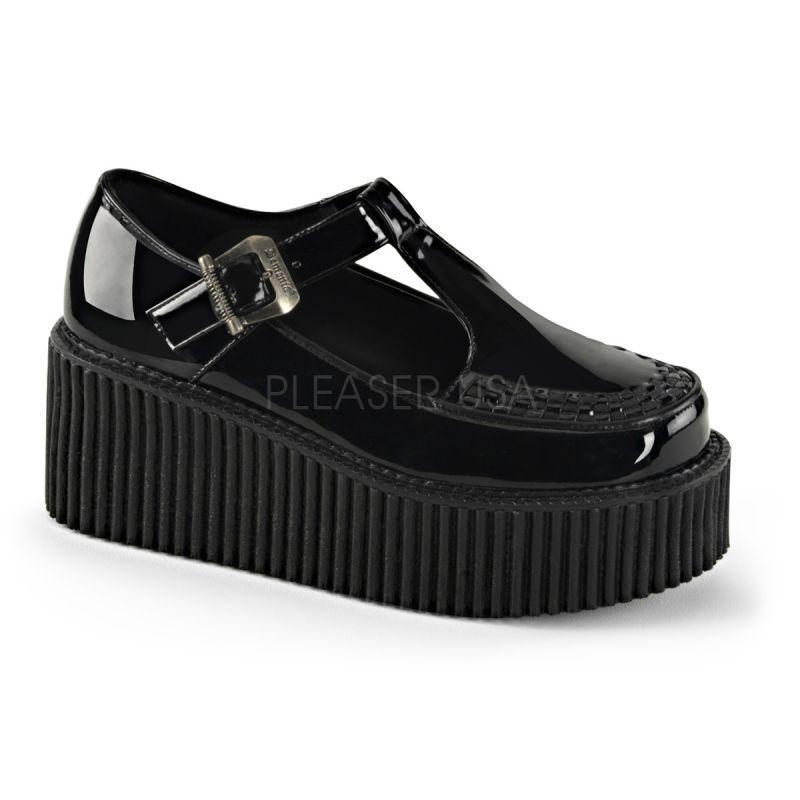 DEMONIA CRE214 BPT Plateau Halbschuh black Lack Gothik Grunge Punk Rockabilly