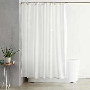 Waterproof-Fabric-White-Bathroom-Shower-Curtain-Plain-With-Hooks-Ring-Extra-Long