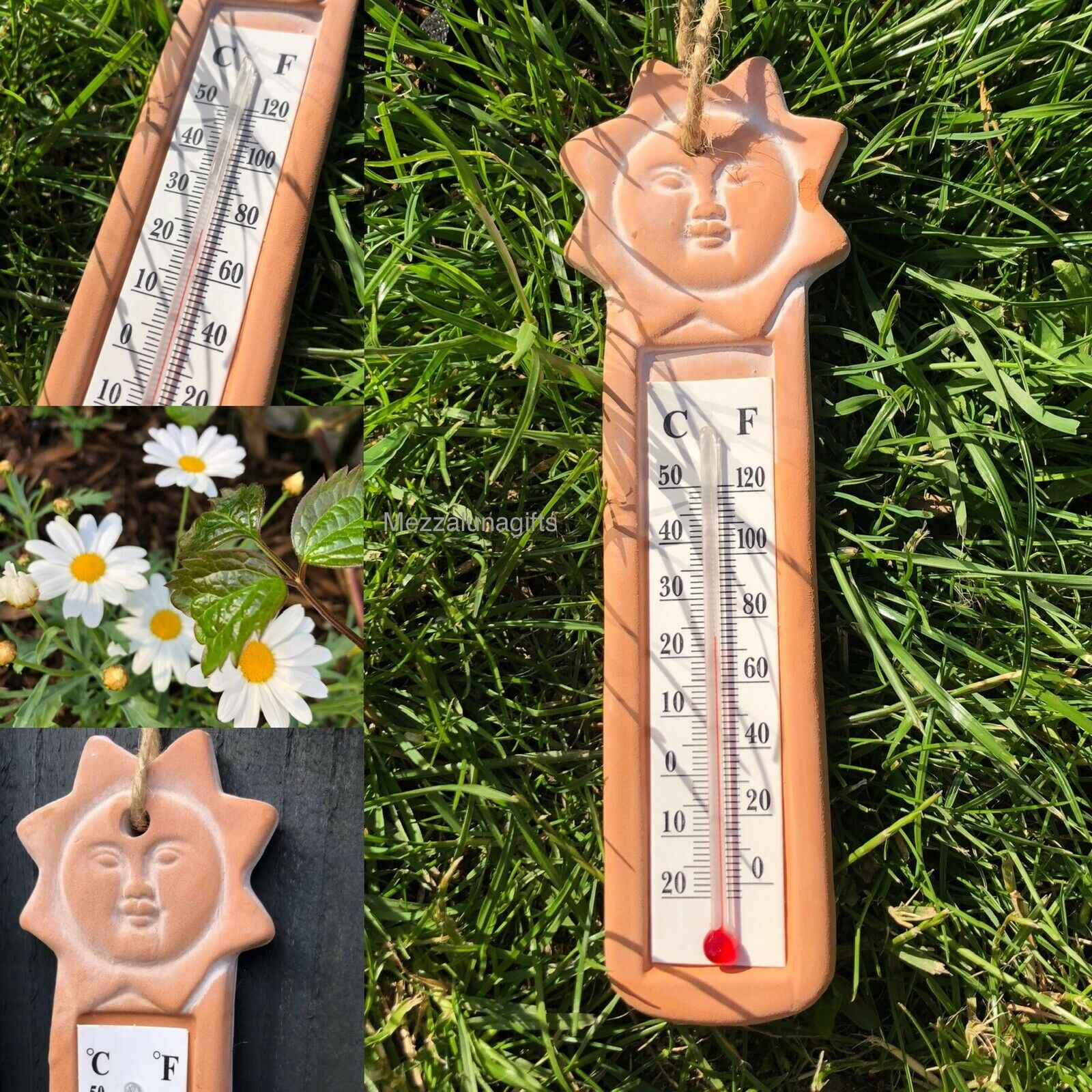 Terracotta Handcrafted Sun Home Garden Hanging Wall Thermometer 19 cm