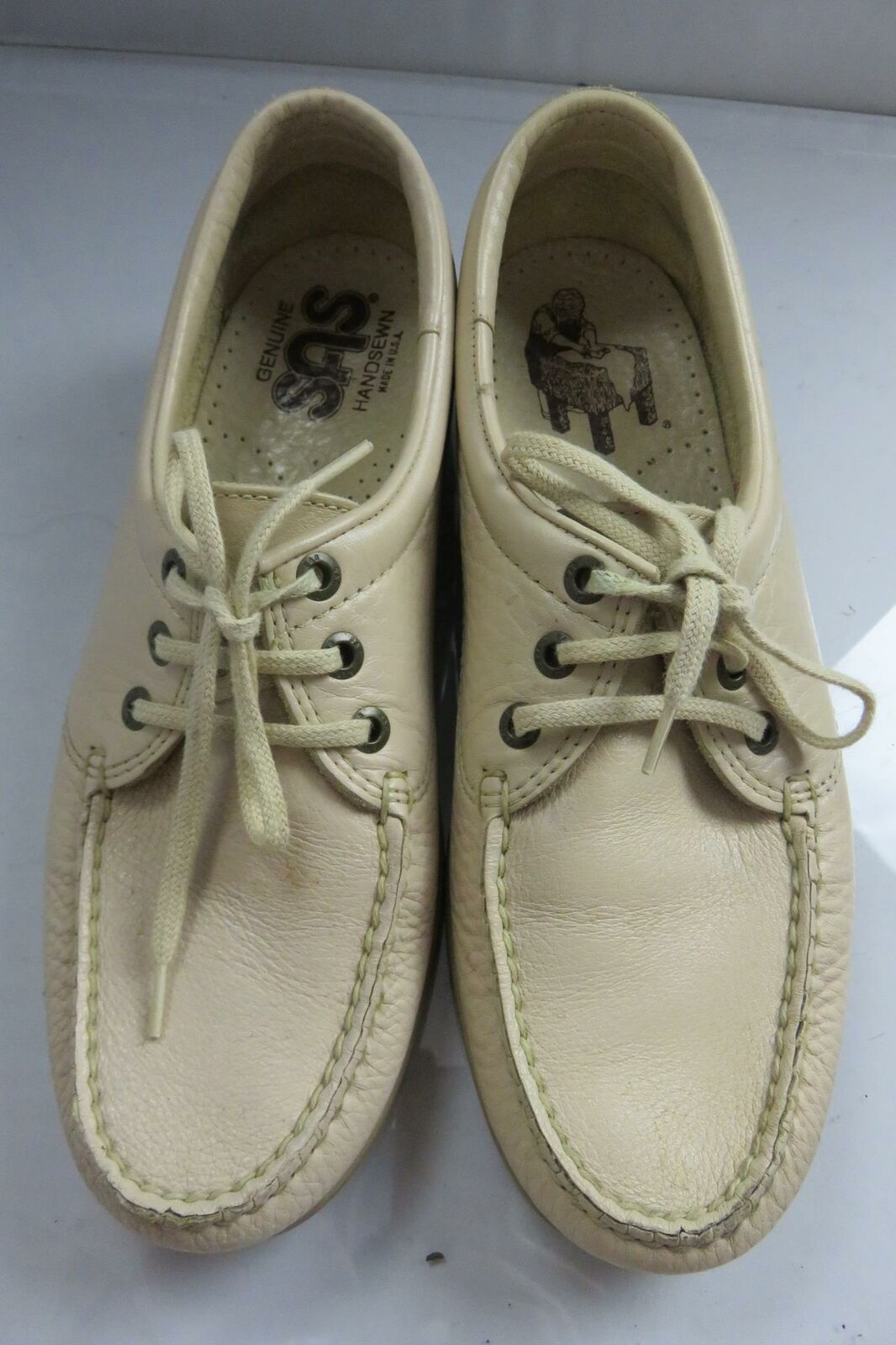 SAS Lace-Up Oxfords Mens Size 9N Beige Textured Leather Handsewn in USA