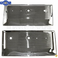 67-72 Chevy Pickup Truck Inner Interior Stamped Metal Door Panel - Chrome - Pair
