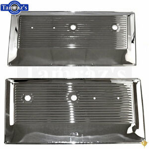 67 72 chevy pickup truck inner interior stamped metal door panel chrome pair ebay. Black Bedroom Furniture Sets. Home Design Ideas