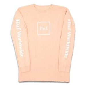 HUF-Mens-Essentials-Domestic-L-S-Shirt-Coral-Pink-M-New