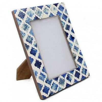"""Vintage Moroccan Tile Style Blue Photo Frame Freestanding Picture Holder 6 x 4/"""""""