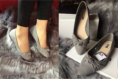 Ladies Black and Grey Loafer with Gold Buckle Flat Shoe Size UK 4-8
