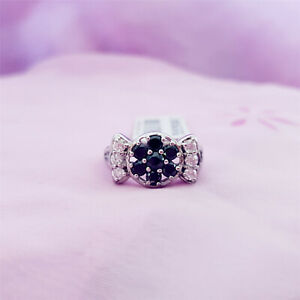 Genuine-100-Real-Sterling-Silver-Rings-sizes-7-Black-Sapphire-R77-FREE-POST