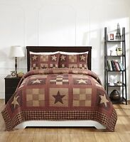 3pc Olivia's Heartland Burgundy Country 9 Patch Bradford Star Quilt & 2 Shams