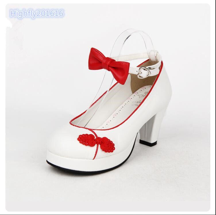 Damenschuhe Lolita Pumps Janes Lederpumps Mary Janes Pumps Blockabsatz Rund Knöchelriemen bbe7f5
