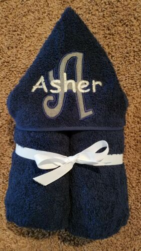 Personalized Boy Grey /& White Initial Navy Hooded Towel