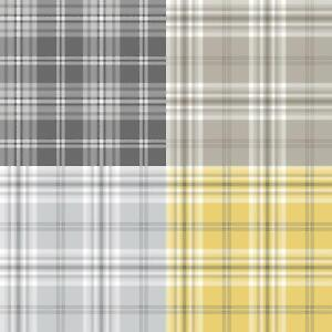 Yellow-Grey-Charcoal-Taupe-Check-Wallpaper-Country-Tartan-Plaid-Muriva-Kelso