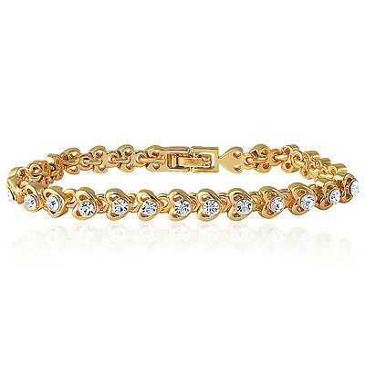 Mahi Gold Plated Tiny Hearts Bracelet with Crystal for Women BR1100128G