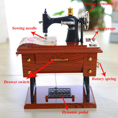 Vintage Mini Sewing Machine Style Music Box Mechanical Table Decor Birthday CL