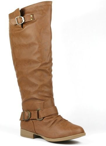 Tan Brown Faux Leather w Buckle Back Zipper Knee High Riding Boot Land-7