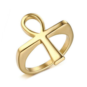 Details about Men's Ankh Cross Ring Gold Plated Solid Stainless Steel Crux  Ansata Vintage Ring