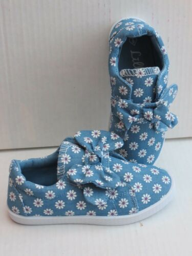 SIZE 2 PLIMSOLE RUNNING SHOE BLUE DAISYS CHILDRENS GIRLS FLAT CANVAS SHOES
