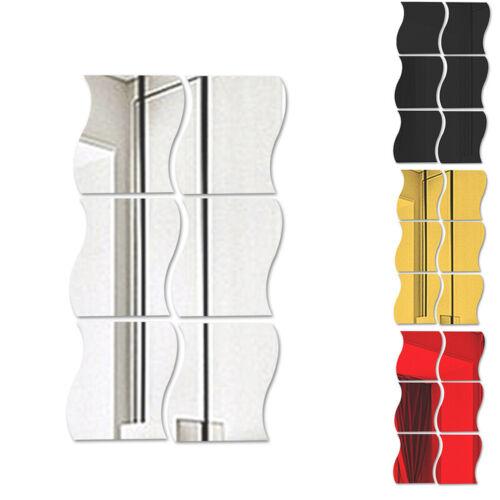 DIY 6 Pcs Waves Shape Self-adhesive 3D Mirror Wall Sticker Home Room Decal Decor
