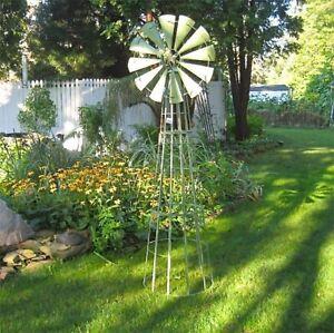 "Windmill Revolving Garden-Trellis  88"" Tall  Wrought Iron w/Green Patina"