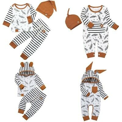 Newborn Baby Boy Girl Feather T Shirt Tops Striped Pants Clothes Outfits Set