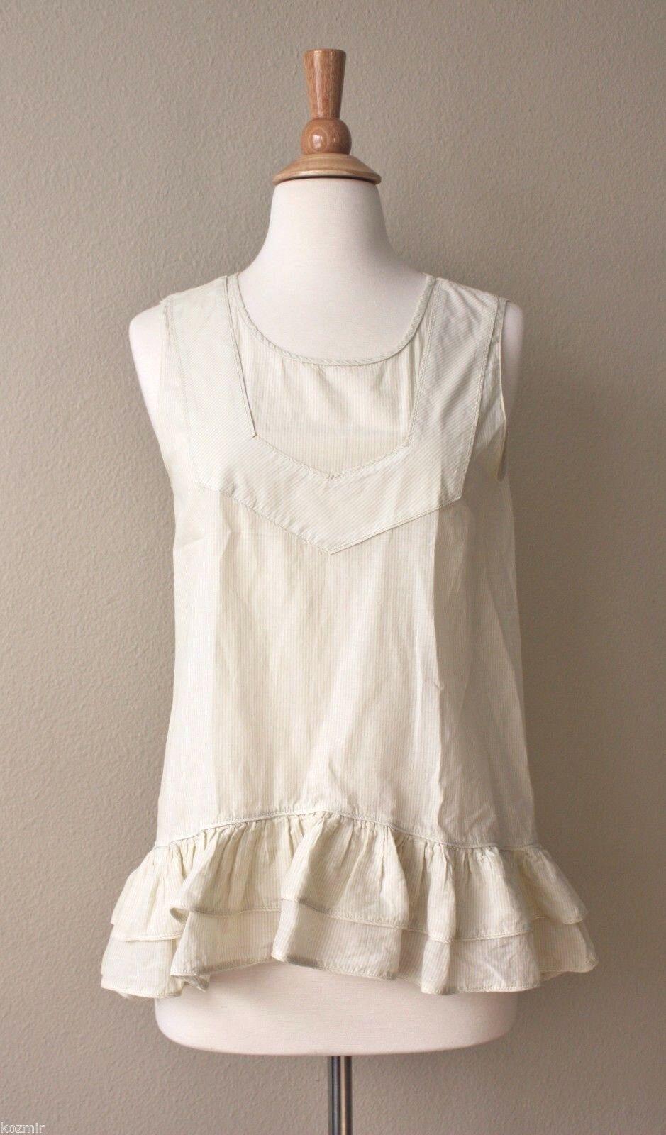 MARC by MARC JACOBS RUFFLE HEM TANK Sleeveless Off Weiß Hemd Trend oben S Silk