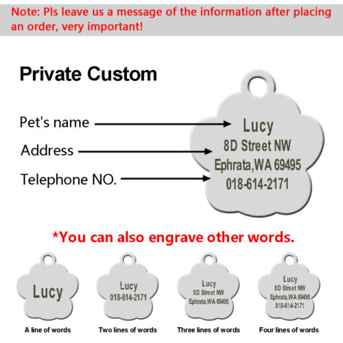 Personalized Dog ID Tag Paw Glitter Engraved Custom Rhinestone for Pet Puppy Cat