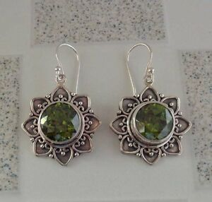 Peridot-Solid-Silver-925-Bali-Handcrafted-Earring-35976